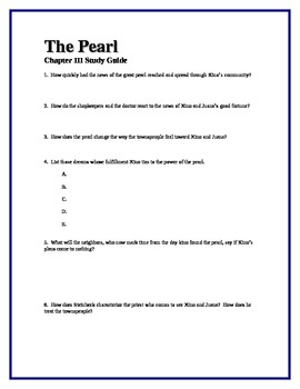 THE PEARL by John Steinbeck Chapter III Study Guide Questions w/key