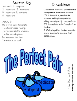 THE PERFECT PAIR File Folder Game Sentence-Subject & Predicate