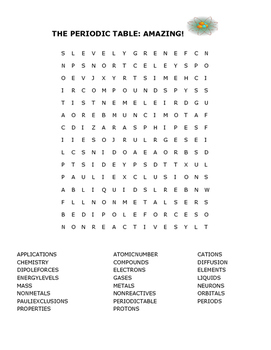 THE PERIODIC TABLE: AMAZING! WORD SEARCH