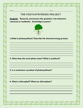 THE PHOTOSYNTHESIS PROJECT