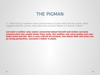 THE PIGMAN By Paul Zindel NOVEL UNIT