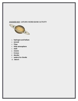 THE PLANET SATURN WORD BANK ACTIVITY WITH ANSWER KEY