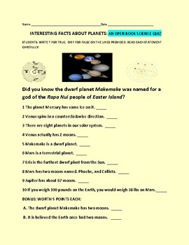 THE PLANETS: INTERESTING FACTS, SCIENCE QUIZ T/F, ANSWER KEY