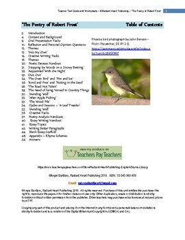 THE POETRY OF ROBERT FROST - WORKSHEETS