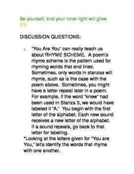 THE POWER OF ME:Original anti-bullying poetry?'s/discussionslit. devices/project