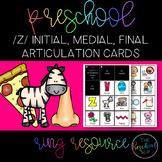 THE PRESCHOOL SLP: Articulation Cards Resource Ring /z/ initial, medial, final