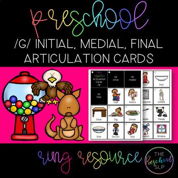 THE PRESCHOOL SLP: Articulation Cards Ring Resource /g/ initial, medial, final