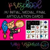 THE PRESCHOOL SLP: Articulation Cards Ring Resource /k/ initial, medial, final