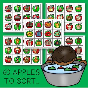 THE PRESCHOOL SLP: Fall Bobbing for Apples Category Activity