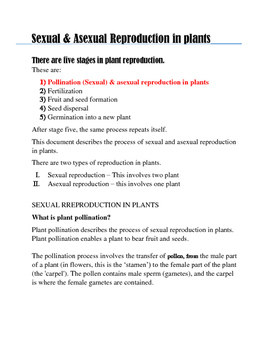 THE PROCESS OF SEXUAL & ASEXUAL REPRODUCTION IN PLANTS