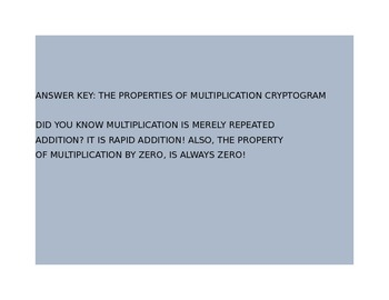 THE PROPERTIES OF MULTIPLICATION CRYPTOGRAM