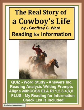 THE REAL STORY of a COWBOY'S LIFE Reading for Information Lessons