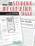 THE REAL YOU • Student Information Sheet & Parent Intro Letter