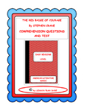 THE RED BADGE OF COURAGE- QUESTIONS AND TEST-ADAPTED VERSION