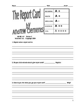 THE REPORT CARD Andrew Clements