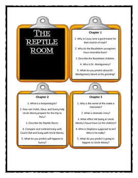 Series of Unfortunate Events THE REPTILE ROOM  - Discussion Cards