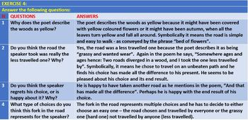 THE ROAD NOT TAKEN BY ROBERT FROST - WORKSHEETS WITH ANSWERS