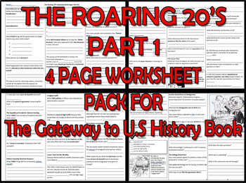 THE ROARING 20's PART 1. FOUR PAGE PACK for The Gateway to U.S History Book