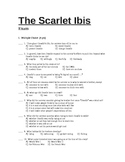 THE SCARLET IBIS multiple choice and short answer test