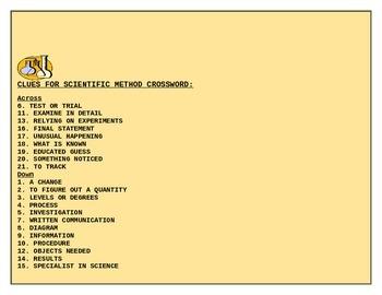 THE SCIENTIFIC METHOD CROSSWORD GRADES 5-9