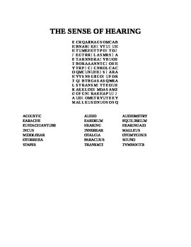 THE SENSE OF HEARING WORD SEARCH