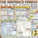 SENTENCE BUNDLE: SIMPLE, COMPOUND, COMPLEX; TYPES OF SENTENCES