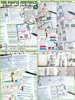 THE SENTENCE: SIMPLE, COMPOUND, COMPLEX {foldables, task cards, QR codes} BUNDLE