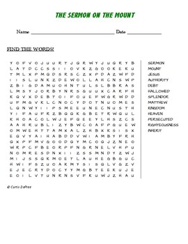 THE SERMON ON THE MOUNT word search