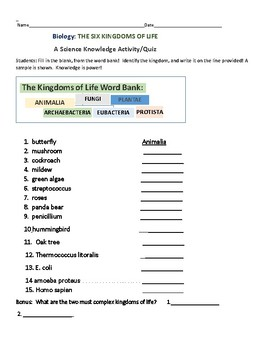 THE SIX KINGDOMS OF LIFE: A Science Knowledge Activity/Quiz