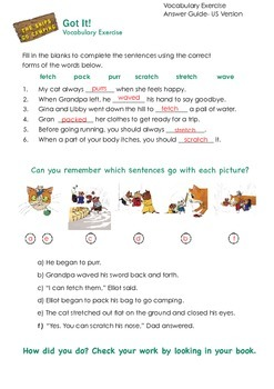 THE SNIPS: The Snips Go Camping Activity - Vocabulary Challenge 1 ANSWER KEY