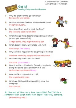THE SNIPS: The Snips Go Camping - Reading Comprehension ANSWER KEY