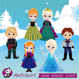 Snow Princess Digital Clipart, Snow Princess Clipart, Prin