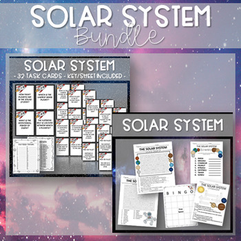 THE SOLAR SYSTEM ACTIVITY SET ~ Worksheets, Bingo, and Task Cards