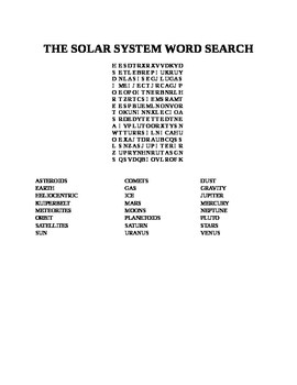 THE SOLAR SYSTEM WORD SEARCH