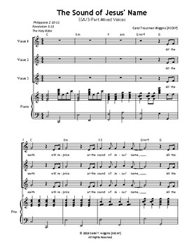 THE SOUND OF JESUS' NAME (SSA/3-Part Mixed)