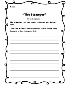 """THE STRANGER"" - Open Response Question"