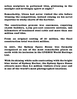 THE SYDNEY OPERA HOUSE Article and Worksheet Packet