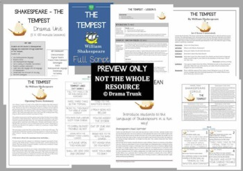THE TEMPEST Shakespeare Drama Unit (5 x 100 min drama lessons) NO PREP!