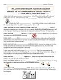 THE TEN COMMANDMENTS OF AUDIENCE ETIQUETTE - NOTES DRAMA CLASS