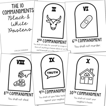 THE TEN COMMANDMENTS Posters and Coloring Pages | Includes Catholic Version