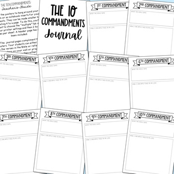 THE TEN COMMANDMENTS Posters and Journal Pages | Includes Catholic Version