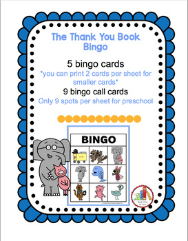 THE THANK YOU BOOK-- BINGO