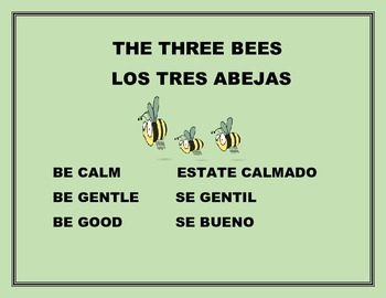 THE THREE BEES BILINGUAL CLASSROOM SIGN