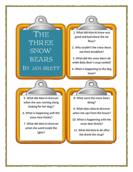 Jan Brett THE THREE SNOW BEARS - Discussion Cards
