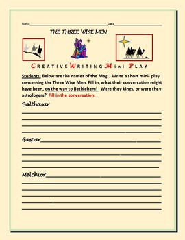 THE THREE WISE MEN : A  CONVERSATIONAL MINI-PLAY: CREATIVE WRITING