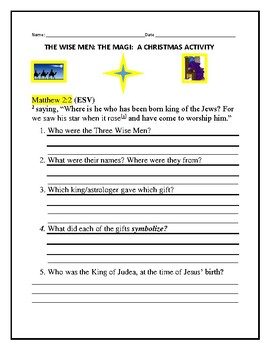 THE THREE WISE MEN: A HOMEWORK ACTIVITY