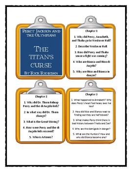 Percy Jackson THE TITAN'S CURSE by Rick Riordan- Discussion Cards