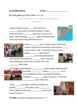 THE TRADITION OF BULL RUNNING San Fermin and -ER/-IR Verb Conjugations