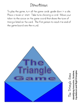 THE TRIANGLE GAME File Folder Game -Geometry Triangle Types