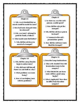 THE TRUMPET OF THE SWAN by E.B. White * Discussion Cards